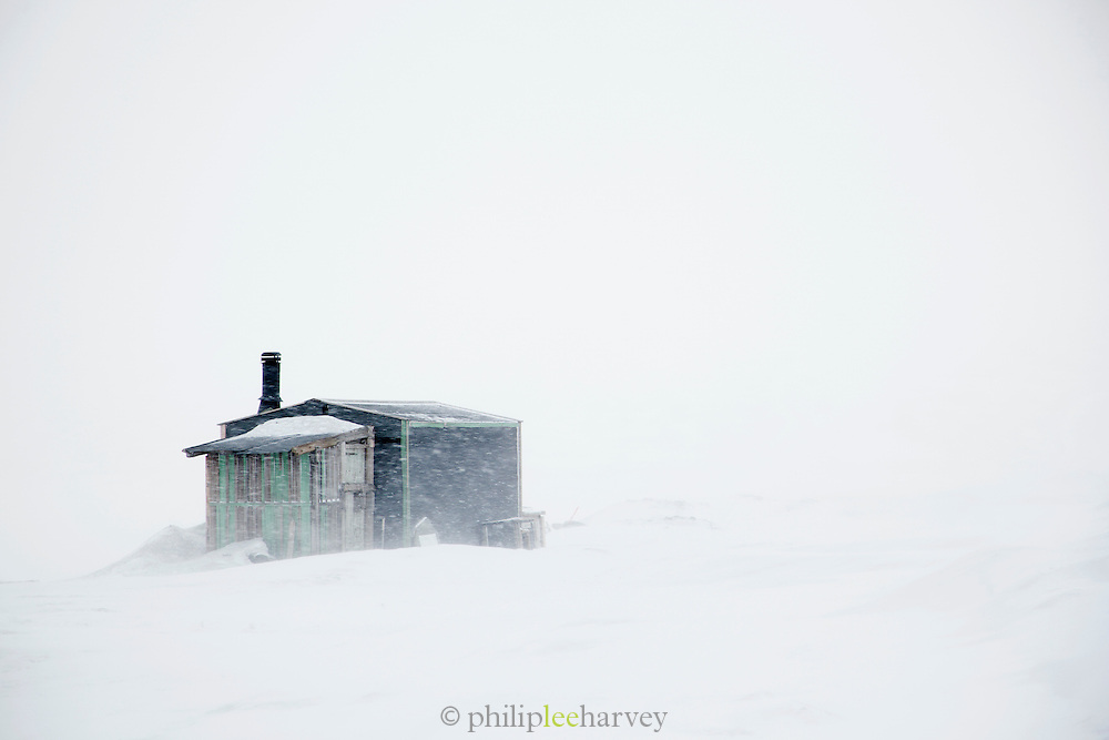 A hut in the wilderness of Spitsbergen. Spitsbergen is the largest island of the arctic archipelago Svalbard, of Norway