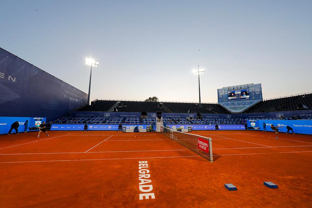 Tennis-ATP Serbia Open Belgrade 2021-<br /> Taro Daniel (JPN) v Federico Delbonis (ARG)<br /> total, general overview<br /> Beograd, 23.04.2021.foto: Marko Djokovic/Starsportphoto ©