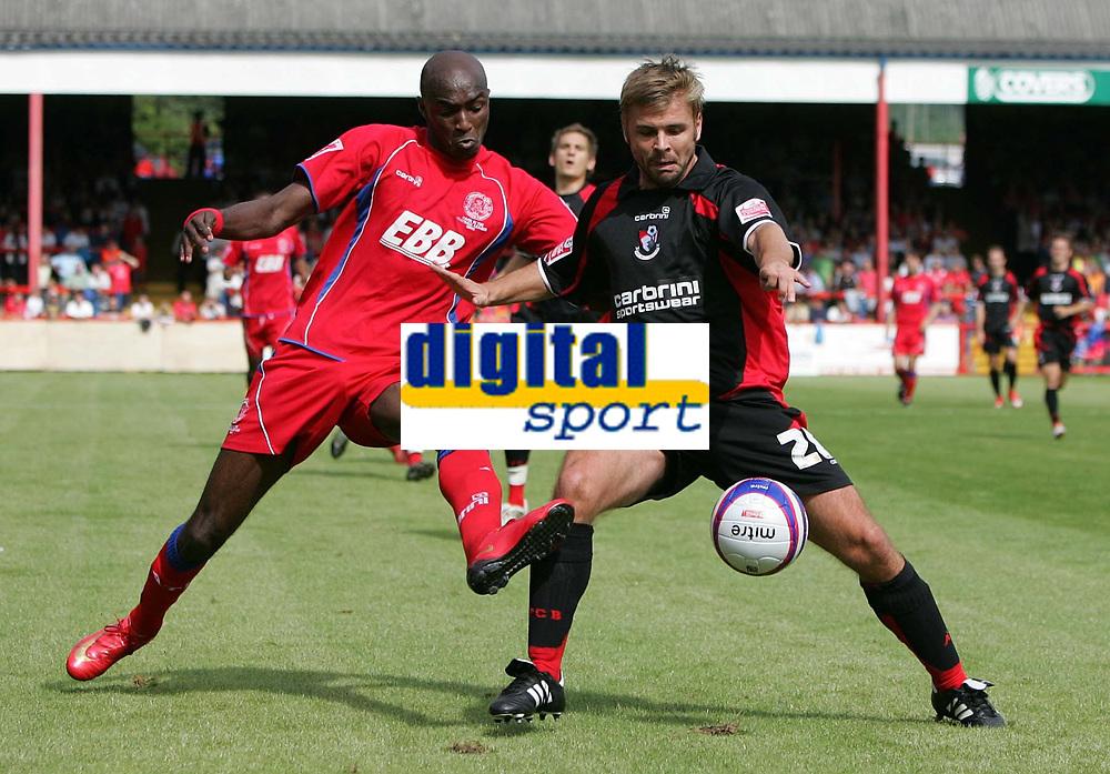Photo: Lee Earl/Richard Lane Photography<br /> Aldershot v Bournemouth. Coca-Cola Football League Two. 16/08/2008. Aldershot's Marvin Morgan (L) battles with Warren Cummings.