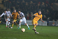 Sean Rigg  of Newport county scores his teams 2nd goal from a penalty to make it 2-2. .  EFL Skybet football league two match, Newport county v Barnet at Rodney Parade in Newport, South Wales on Tuesday 25th October 2016.<br /> pic by Andrew Orchard, Andrew Orchard sports photography.