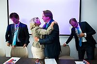 BREDA -  ALV KNHB.  Reinoud Imhof neemt afscheid als bestuurder KNHB. met Madeleine Bakker. rechts  voorzitter Erik Cornelissen.   COPYRIGHT  KOEN SUYK