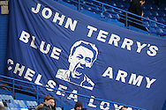 a Large banner showing John Terry, the Chelsea captain displayed in the stand before k/o. Barclays Premier league match, Chelsea v Manchester Utd at Stamford Bridge in London on Sunday 7th February 2016.<br /> pic by John Patrick Fletcher, Andrew Orchard sports photography.