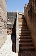 Stairs beside the tribute tower inside the Alhambra Alcazaba section Granada Spain
