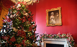 Christmas trees and holiday decorations are seen in the Red Room of the White House in Washington, DC, November 27, 2017. . Photo by Olivier Douliery/Abaca Press