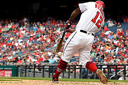 May 6, 2018 - Washington, DC, U.S. - WASHINGTON, DC - MAY 06:  Washington Nationals first baseman Howie Kendrick (12) fouls a ball off to keep the at bat alive during the game between the Philadelphia Phillies  and the Washington Nationals on May 6, 2018, at Nationals Park, in Washington D.C.  The Washington Nationals defeated the Philadelphia Phillies, 5-4.  (Photo by Mark Goldman/Icon Sportswire) (Credit Image: © Mark Goldman/Icon SMI via ZUMA Press)