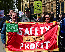 April 26, 2017 - London, London, United Kingdom - Image ©Licensed to i-Images Picture Agency. 26/04/2017. London, United Kingdom. RMT Protest...Members of the RMT and their supporters protest opposite the Houses of Parliament. The protest is to mark the first anniversary of the ongoing  Southern Rail dispute. Workers are angered by staff shortages and the company's move towards a Driver Only Operation  (DOO)...Picture by Pete Maclaine / i-Images (Credit Image: © Pete Maclaine/i-Images via ZUMA Press)