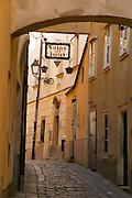 Europe, Slovakia, capitol city - Bratislava, Bastova, one of the city's best winding alleys.near Michael tower..