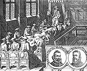 In the right hand corner of this panel are shown the Marquis of Bergen and the Baron de Montigny, who in 1566 were sent as ambassadors to Spain to discuss the petition and the moderation of placcaten to speak.  They never saw their land again.