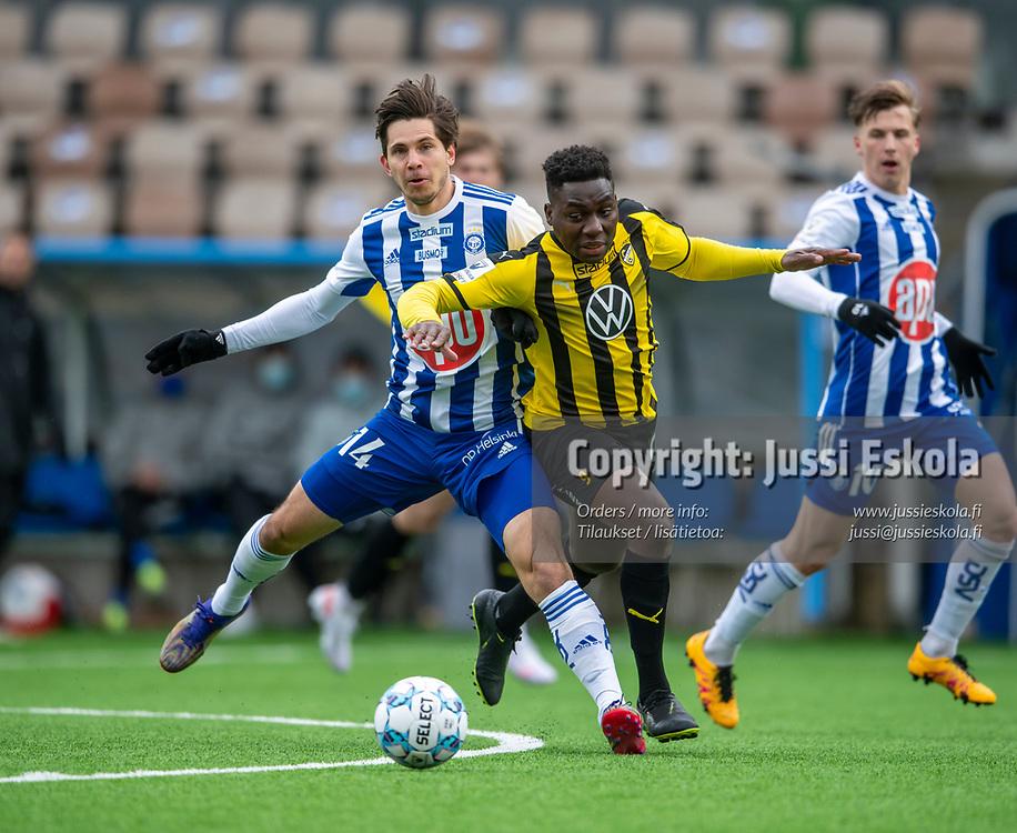 Jean Marie Dongou. Sebastian Dahlström. HJK - Honka. Veikkausliiga 24.4.2021. Photo: Jussi Eskola