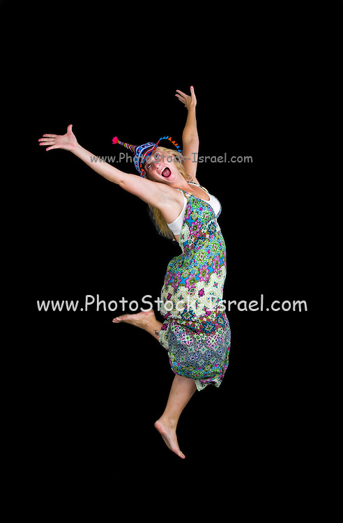 Carefree individual young woman on black background