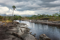 Rock formation at lakeside, canaima national park, Venezuela