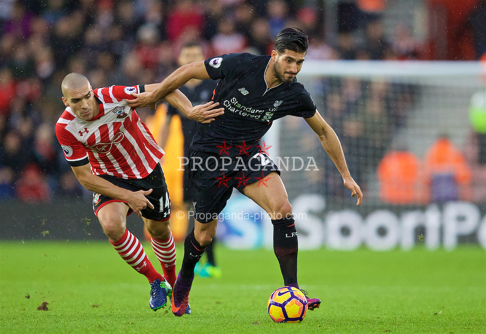 SOUTHAMPTON, ENGLAND - Saturday, November 19, 2016: Liverpool's Emre Can in action against Southampton's Oriol Romeu during the FA Premier League match at St. Mary's Stadium. (Pic by David Rawcliffe/Propaganda)
