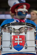 Slovakia fans and drums during the FIFA World Cup Qualifier match between England and Slovakia at Wembley Stadium, London, England on 4 September 2017. Photo by Sebastian Frej.