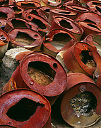 Rusted 55-gallon drums at mill site for the Nabesna Mine that from 1931 to 1940 produced 53,400 ounces of gold, Nebesna, White Mountain, Wrangell-St. Elias National Preserve, Alaska.