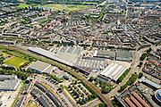 Nederland, Noord-Holland, Haarlem, 01-08-2016; centrum Haarlem, met  Amsterdamse Poort en <br /> Hoofdwerkplaats Haarlem van NedTrain.<br /> City centre Haarlem.<br /> luchtfoto (toeslag op standard tarieven);<br /> aerial photo (additional fee required);<br /> copyright foto/photo Siebe Swart