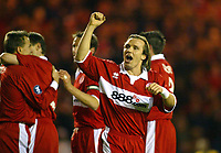 15/12/2004 - UEFA Cup, Group E - Middlesbrough v FK Partizan - The Riverside, Middlesbrough<br />Middlesbrough's Bolo Zenden celebrates toward the home fans after a Middlesbrough goal<br />Photo:Jed Leicester/Back Page Images
