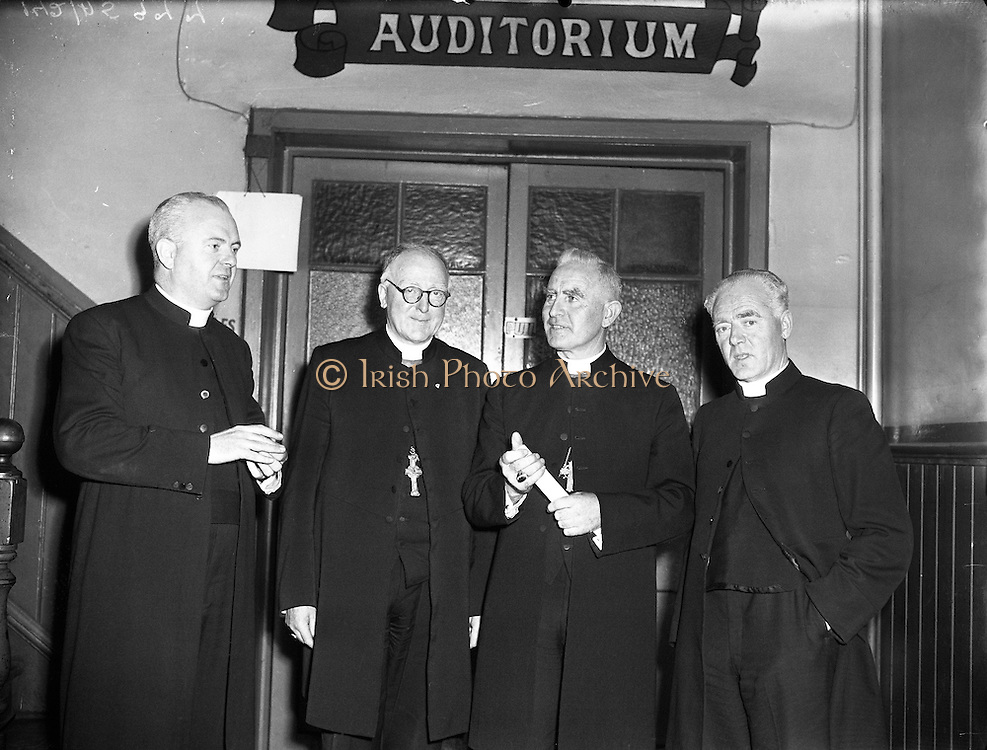 """Most Reverend Dr Bishop Lucey of Cork delivers a lecture in Fr Matthew Hall for Centenary.10/10/1956..Cornelius """"Con"""" Lucey (1902–82) was a Roman Catholic Bishop of Cork and Ross...Cornelius Lucey was born into a farming family at Carrigrohane, near Cork City. He studied at St Finbarr's College, Farranferris, the diocesan college. He graduated from St Patrick's College, Maynooth with BC and BCL, and obtained MAs at Innsbruck University in 1927–29 and then University College Dublin...Lucey was ordained a priest in 1927. He held the Chair of Philosophy and Political Theory at St. Patrick's College, Maynooth, from 1929 to 1950. He was one of the founders of Christus Rex, a priest's society devoted to social issues, on which he was a prominent commentator. In 1951 he was appointed bishop of the diocese of Cork, from 1958 united to the Diocese of Ross. He founded the St. Anne's Adoption Society in 1954. His outspoken sermons, often given at confirmations, made him something of a thorn in the side of the establishment. His views on matters of faith and morals were conservative, and he was involved in a controversy in the 1960s, when he withdrew the diocesan faculties of Father James Good, a lecturer at University College, Cork, for publicly dissenting from the teaching of Pope Paul VI. He started the Cork diocesan mission to Peru, and many priests from Cork ministered there from 1961...Lucey retired as bishop in 1980, in the early stages of leukemia. He went to the Turkana District in Kenya to work as an ordinary curate with Good, who had gone there some years earlier....After nearly two years in Kenya he became seriously ill. He was flown back to Cork in September 1982 and died within days...In 1985, as part of the Cork 800 festival, a site between Grand Parade and South Main Street was developed into an urban park named """"Bishop Lucey Park"""".."""