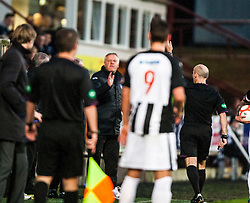 Jim Jeffries, Dunfermline's manager claps the linesman and gets sent to the stand by Referee Stephen Finnie..half time : Dunfermline v Falkirk, 26/12/2012..©Michael Schofield.