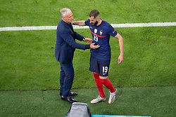 Karin Benzema of France and France's coach Didier Deschamps during the UEFA Euro 2020 Championship Group F match between France and Germany at Allianz Arena, on June 15, 2021 in Bavaria, Munich, Germany. Photo by David Niviere/ABACAPRESS.COM