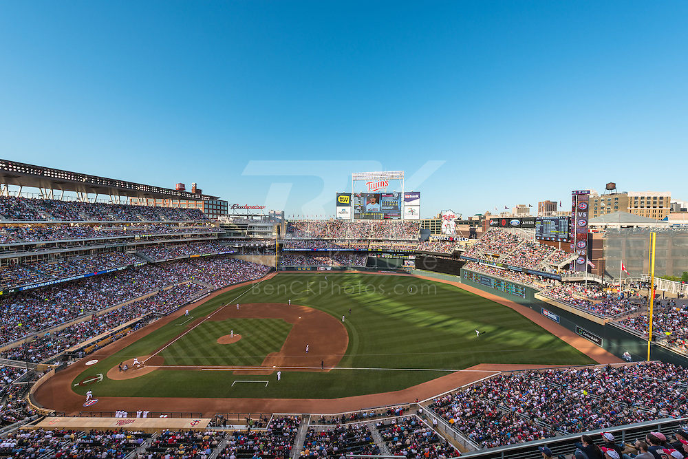 A wide angle view of Target Field as the Minnesota Twins play the Toronto Blue Jays on May 12, 2012 in Minneapolis, MInnesota.