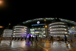 Wet weather at Manchester City's Etihad Stadium ahead of the match