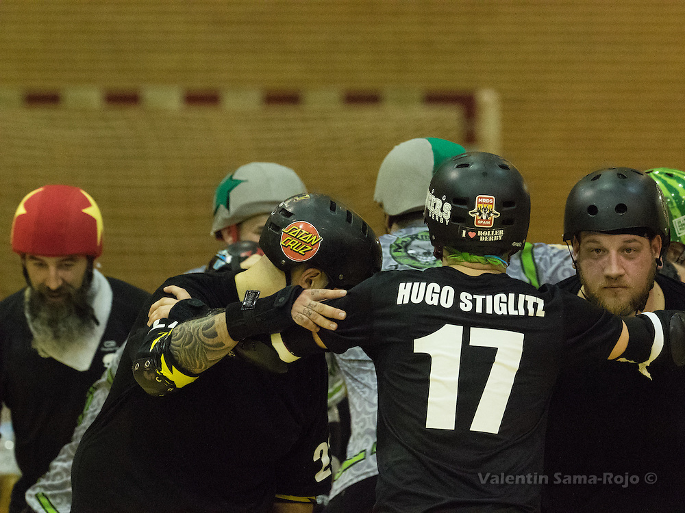 MADRID, SPAIN - January 23, 2016: Players of RockNRollaz preparing their defensive wall before a jam during the match against MadRiders held in Madrid.