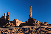 The Totem Pole in Monument Valley at sunset