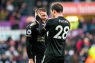 ( L-R ) Jamie Vardy of Leicester City and Christian Fuchs of Leicester City celebrate their teams win at the final whistle. Premier league match, Swansea city v Leicester city at the Liberty Stadium in Swansea, South Wales on Saturday 21st October 2017.<br /> pic by Aled Llywelyn, Andrew Orchard sports photography.