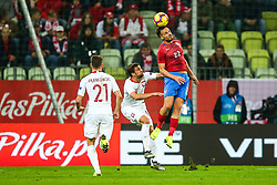 November 15, 2018 - Gdansk, Poland - Filip Novak of Czech Republic vies Bartosz Bereszynski and Przemyslaw Frankowski of Poland  during International Friendly match between Poland and Czech Republic on November 15, 2018 in Gdansk, Poland. (Credit Image: © Foto Olimpik/NurPhoto via ZUMA Press)