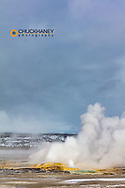 Clepsydra Geyser in winter in Yellowstone National Park, Wyoming, USA