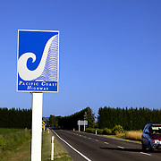The distinctive blue Pacific Coast Highway sign on a sign post in Hawkes Bay, North Island, New Zealand. 13th January 2010 Photo Tim Clayton