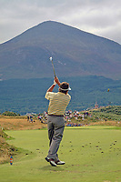 Ian Stanley, professional golfer, Australia, plays a shot with Slieve Donard, part of the Mountains of Mourne, N Ireland, UK, in the distance. Taken at British Seniors Open Championship at Royal County Down, Newcastle, N Ireland. Ref: 200107293050.<br /> <br /> Copyright Image from Victor Patterson, Belfast, UK<br /> <br /> t: +44 28 9066 1296 (from Rep of Ireland 048 9066 1296)<br /> m: +44 7802 353836<br /> <br /> victorpattersonbelfast@gmail.com<br /> www.victorpatterson.com<br /> <br /> Please see my Terms and Conditions of Use at https://www.victorpatterson.com/page2<br /> It is IMPORTANT that you familiarise yourself with them.<br /> <br /> Images used on the Internet incur an additional cost and must be visibly watermarked i.e. © Victor Patterson within the body of the image and copyright metadata must not be deleted. Images used on the Internet have a size restriction of 4 kbs and are chargeable at rates available at victorpatterson.com.<br /> <br /> This image is only available for the use of the download recipient i.e. television station, newspaper, magazine, book publisher, etc, and must not be passed on to any third party. It is also downloaded on condition that each and every usage is notified within 7 days to victorpattersonbelfast@gmail.com<br /> <br /> The right of Victor Patterson to be identified as the author is asserted in accordance with The Copyright Designs And Patents Act (1988). All moral rights are asserted.