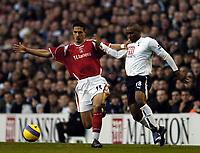 Photo: Olly Greenwood.<br />Tottenham Hotspur v Charlton Athletic. The Barclays Premiership. 09/12/2006. Charlton's Talal El Karkouri Spurs Jermaine Defoe