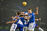 Portsmouth Forward, Michael Smith (9) heads clear during the EFL Sky Bet League 2 match between Portsmouth and Mansfield Town at Fratton Park, Portsmouth, England on 12 November 2016. Photo by Adam Rivers.