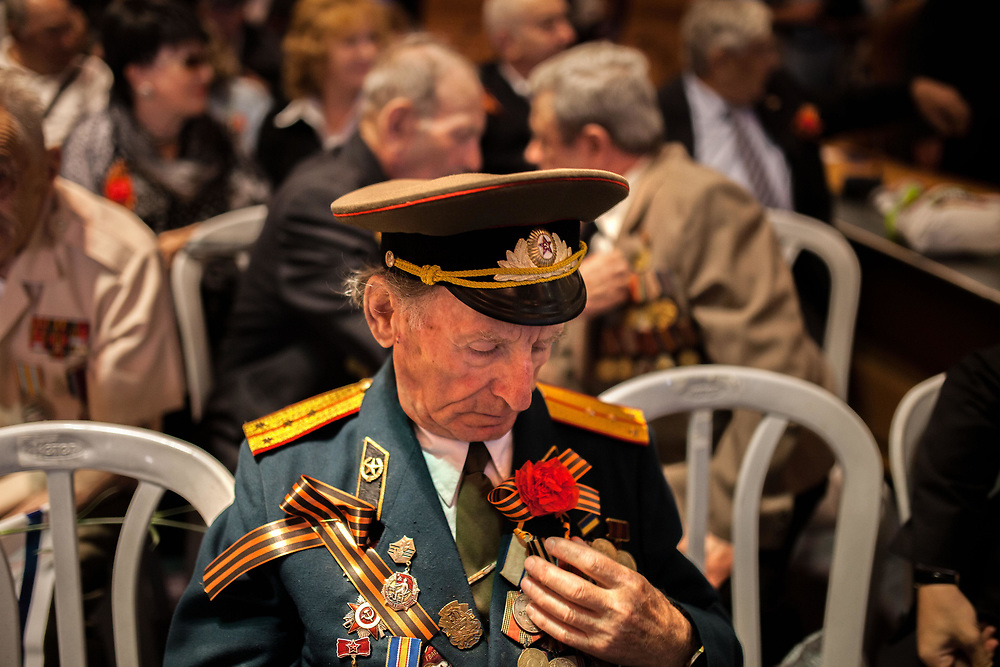 World War II veterans who fought in the ranks of the Red Army gathered today for an official Victory Day ceremony held in Jerusalem's city hall commemorating 69 years to the surrender of Nazi Germany. Usually VE Day is celebrated on May 9, as it is common in Russia and the former Soviet states.