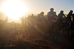 ROBERTSON, SOUTH AFRICA - MARCH 20: The Elite Women's group head out at the start of stage two's 110km from Robertson on March 20, 2018 in Cape Town, South Africa. Mountain bikers from across South Africa and internationally gather to compete in the 2018 ABSA Cape Epic, racing 8 days and 658km across the Western Cape with an accumulated 13 530m of climbing ascent, often referred to as the 'untamed race' the Cape Epic is said to be the toughest mountain bike event in the world. (Photo by Dino Lloyd)
