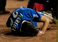 Fotball<br /> Foto: SBI/Digitalsport<br /> NORWAY ONLY<br /> <br /> Newcastle United v Chelsea<br /> Coca-Cola Cup Fourth Round<br /> 10/11/2004<br /> <br /> Chelsea's Paulo Ferreira lies injured after Newcastle's Laurent Robert sends him clattering into the advertising boards.