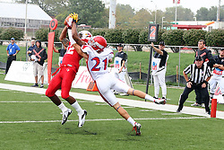 01 September 2012:  Tyrone Walker pulls in a pass in the end zone with Sal Salvato clinging to his arm during an NCAA football game between the Dayton Flyers and the Illinois State Redbirds at Hancock Stadium in Normal IL