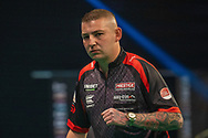 Nathan Aspinall (England) during the Betway Premier League Darts Night Eight at Marshall Arena, Milton Keynes, United Kingdom on 21 April 2021