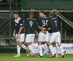 Falkirk's Stephen Kingsley celebrates with team mates after scoring their third goal.<br /> Falkirk 3 v 1 Raith Rovers, Scottish Championship game at The Falkirk Stadium.