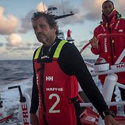 Leg 3, Cape Town to Melbourne, day 15, Juan Vila and Blair Tuke on board MAPFRE. Photo by Jen Edney/Volvo Ocean Race. 24 December, 2017.