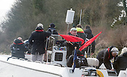 London. UNITED KINGDOM.  Boat Race Company, Executive Director David SEARLE, waves the Red Flags, offering CUWBC, the opportunity to retire after their boat  became over whelmed with water.162nd BNY Mellon Boat Race and The 71st Newton Women's Boat Race on the Championship Course, River Thames, Putney/Mortlake.  Sunday  27/03/2016    [Mandatory Credit. Intersport Images]<br /> <br /> Oxford University Women's Boat Club {OUWBC} vs Cambridge University Women's Boat Club {CUWBC}