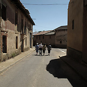 Village of Quintana del Marco, Leon province, Spain . The WAY OF SAINT JAMES or CAMINO DE SANTIAGO following the Silver Way, between Seville and Astorga, SPAIN. Tradition says that the body and head of St. James, after his execution circa. 44 AD, was taken by boat from Jerusalem to Santiago de Compostela. The Cathedral built to keep the remains has long been regarded as important as Rome and Jerusalem in terms of Christian religious significance, a site worthy to be a pilgrimage destination for over a thousand years. In addition to people undertaking a religious pilgrimage, there are many travellers and hikers who nowadays walk the route for non-religious reasons: travel, sport, or simply the challenge of weeks of walking in a foreign land. In Spain there are many different paths to reach Santiago. The three main ones are the French, the Silver and the Coastal or Northern Way. The pilgrimage was named one of UNESCO's World Heritage Sites in 1993. When there is a Holy Compostellan Year (whenever July 25 falls on a Sunday; the next will be 2010) the Galician government's Xacobeo tourism campaign is unleashed once more. Last Compostellan year was 2004 and the number of pilgrims increased to almost 200.000 people.