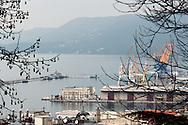 Trieste, vista sul porto dal colle di San Giusto
