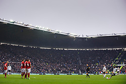 Derby Forward Jamie Ward (NIR) shoots with a free kick hitting the wall during the second half of the match - Photo mandatory by-line: Rogan Thomson/JMP - Tel: Mobile: 07966 386802 19/01/2013 - SPORT - FOOTBALL - Pride Park - Derby. Derby County v Nottingham Forest - npower Championship. The meeting of these two local sides is known as the East Midlands Derby with the winner claiming the Brian Clough Trophy.