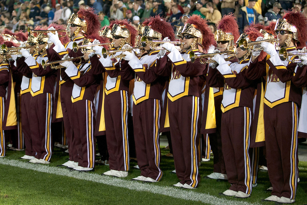 USC band member performs during pregame of NCAA football game between Notre Dame and USC.  The USC Trojans defeated the Notre Dame Fighting Irish 31-17 in game at Notre Dame Stadium in South Bend, Indiana.