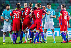 Marcus Rashford of England, Eric Dier of England, Jesse Lingard of England and Wayne Rooney of England and Miral Samardzic of Slovenia with Rok Kronaveter of Slovenia during football match between National teams of Slovenia and England in Round #3 of FIFA World Cup Russia 2018 qualifications in Group F, on October 11, 2016 in SRC Stozice, Ljubljana, Slovenia. Photo by Grega Valancic / Sportida