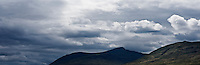 Dramatic clouds form over mountains on Isle of Mull, Scotland