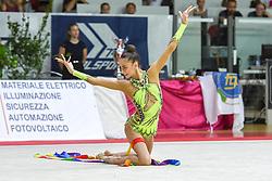 July 28, 2018 - Chieti, Abruzzo, Italy - Rhythmic gymnast Yeva Meleshchuk of Ukraine performs her ribbon routine during the Rhythmic Gymnastics pre World Championship Italy-Ukraine-Germany at Palatricalle on 29th of July 2018 in Chieti Italy. (Credit Image: © Franco Romano/NurPhoto via ZUMA Press)