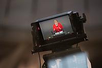 DEU, Deutschland, Germany, Berlin, 27.11.2019: Monitor einer TV-Kamera mit Bundeskanzlerin Dr. Angela Merkel (CDU) bei einer Rede während einer Plenarsitzung im Deutschen Bundestag.